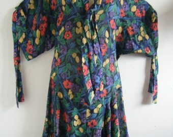 1980s NORMA KAMALI garden party floral maxi dress with cross cross sleeve ties, size m