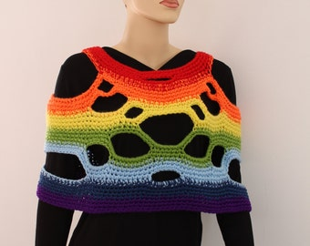 SALE 30% OFF 5 in 1 Universal Two-sided  Rainbow Crochet  Poncho Shawl  - Scarf  Cowl - Vest - Ready to ship