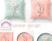 Summer Garden Pillow Set - TWO decorative floral pillows, cushion covers, pillow covers, scatter cushions, flower  home decor, patio pillows