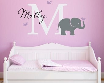Initial & Name Decal with Elephant and Birds - Elephant Wall Decal - Custom Girls Name Decal - Large