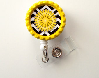 Chevron Daisy You Choose the Color - Name Badge Holder - Cute Badge Reel - ID Badge Reel -  Nurse Badge - Teacher Badge - RN Badge Reel