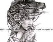 Black Horse- Illustration- Black and white- signed print- woman- portrait- fine art- wall art