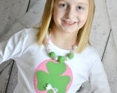 Girls St Patricks Day Shamrock Shirt with Pink Polka Dot Green Shamrock and Bow Accent