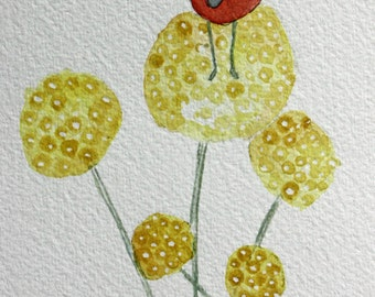 Lady bug original watercolor, drinking tea, coffee, kitchen art, round yellow flowers, yellow and red, bug, garden