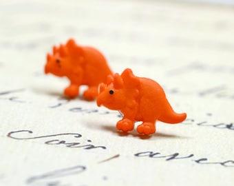 Orange Dinosaur Earrings / Triceratops Stud Earrings / Cute Dino Posts on Stainless Steel, Sensitive Ears Jewelry, Orange Studs