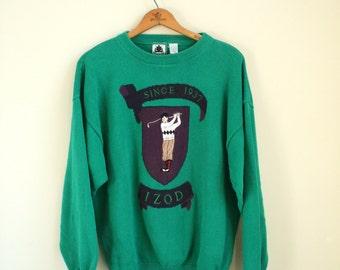 Vintage Izod Sweater with Graphic Golfer - Vintage Golfer Sweater - Emerald Green
