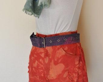 "Red 26"" Waist Lee Shorts - Hand Dyed Red Orange Urban Style Denim Vintage High Waist Distressed Shorts - Juniors Size 26"
