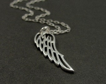 Angel Wing Necklace, Sterling Silver Angel Wing Charm on a Silver Cable Chain