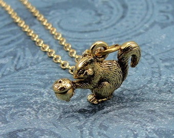 Squirrel Necklace, Gold Squirrel Charm on a Gold Cable Chain