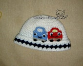 Beanie with Applique Cars, New Born - Teen, INSTANT DOWNLOAD Crochet Pattern