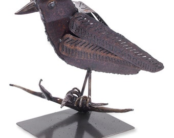 Art Metal Raven Bird Freestanding Sculpture
