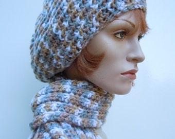 Hat and Scarf Set, Light Brown Slouch Hat and Scarf Set, Crocheted Hat and Scarf, Womens Hat and Scarf