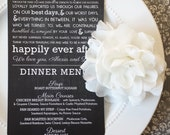 Printable Wedding Menu and Thank you - Style MTY1 - CHALKBOARD COLLECTION