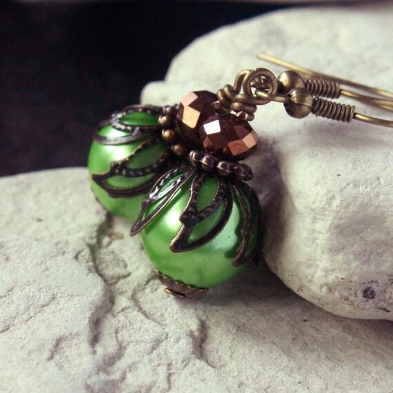 Green Pearl Glass Bead Earrings - CLEARANCE SALE - A.195