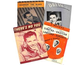 1940s-50s Frank Sinatra Sheet Music Set Old Hollywood Regency Ol' Blue Eyes Broadway Musical Swing Bobby Soxer Wall Art Decor Piano Ballads
