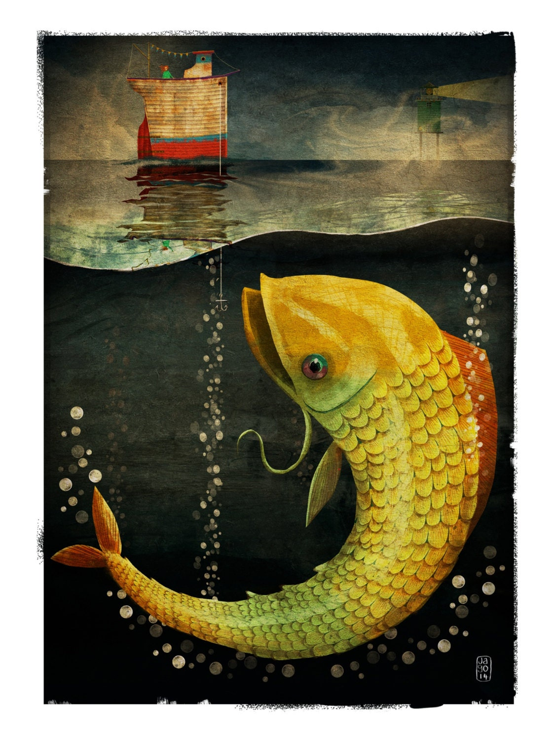 Big fish signed print from the cruel and curious sea ii for Big fish printing