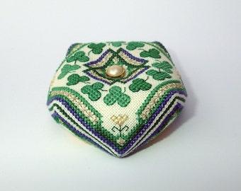 Irish Clover Biscornu Cross Stitch Pattern Instant Download
