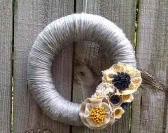 Grey & yellow yarn wrapped wreath, wool felt flower wreath, fall wreath, autumn wreath, linen wreath, home decor, door decor