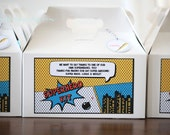 12 x Large Superhero gable favor boxes - includes free label printable