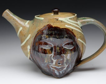Face Teapot Sculpture with Sitting Buddha Bas Relief, Serving Art Pottery Smile