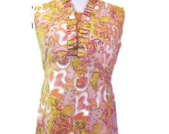 Vintage dress, 60s Mod Op Art, Pink Maxi Dress, Boho