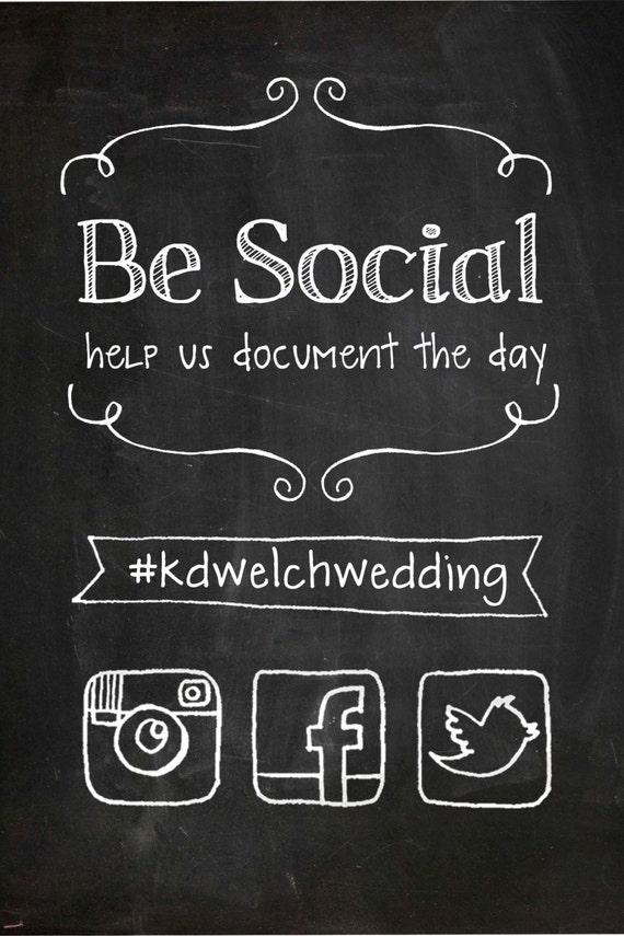 custom illustrated social media instagram facebook twitter sign pdf 8x10. Black Bedroom Furniture Sets. Home Design Ideas