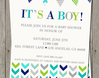 Chevron Arrow Baby Boy Shower Invitation - Digital File