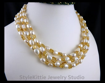 Golden Yellow Citrine, White Cultured Freshwater Pearl, Layered, Multi Strand Necklace, 925 Sterling Silver, Torsade,Twist, Gemstone Jewelry