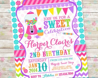 Candyland Invite, Sweet Shoppe, Sweet Shop Birthday, Sweet Celebration, Candy Invite with Gumball, Printable Invite, Candy Invitation, DIY