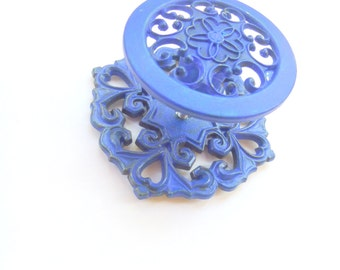 Vintage Cabinet Knobs,  Blue Cabinet Knobs, Painted Furniture Knobs, Scrolly Knobs, 1970s Knobs