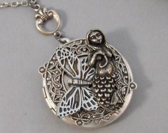 Mariposa Mermaid,Necklace,Locket,Mermaid,Mermaid Locket,Antique Locket,Silver Locket,Goddess,Butterfly Locket,Mermaid. valleygirldesigns