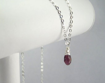 February Birthstone Necklace Sterling Silver Option Personalization Available