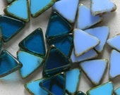 Czech Glass Triangle Beads Top Drilled - Jewelry Making Supplies - Blue Assortment (3 Colors 10 beads Each Color) 13mm