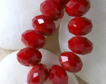 SALE Czech Glass  Rondelle Beads ~8x10mm Opaque Red (20 beads) Buy 2 to get three. (60 Beads)