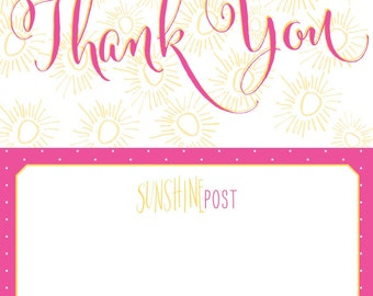 Sunny Pink and Yellow Thank You Postcards