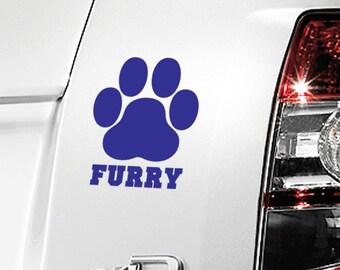 "Furry Paw Print Decal / Furry Print Laptop Sticker / Furry Fandom Laptop Decal / Furry Dog Print Car Sticker / 4.75""h x 4""w / #671"