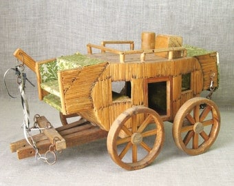 Vintage Folk Art Match Stick Stagecoach, Tramp Art, Handmade, Transportation, Western Decor, Antique, Rustic Ranch, Primitive, Vehicles