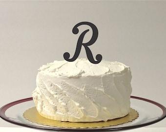 MONOGRAM INITIAL R- Wedding Cake Topper  Personalized Monogrammed Wedding Cake Topper Custom Cake Topper Any Letter