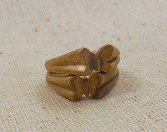 Vintage Raw Brass Butterfly Rings Size 5 (2 per package)