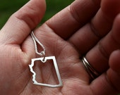 Sterling Silver Necklace and Pendant Country or State Outline - Made to Order