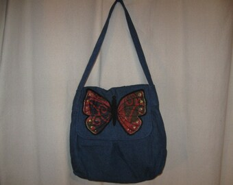 Blue Jean Denim Hand Embroidered Applique Butterfly Pleated Shoulder Bag Purse