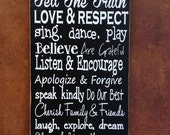 Family Values Wood Sign - Family Rules Sign ~ Tell The Truth ~ Rules Wall Decor ~Rules Sign ~Family Sign ~Family Rules Suway Art~In Our Home