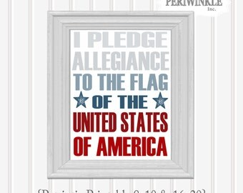 Fourth of July America Printable Pledge of Allegiance 8x10/16x20 size Instant Download