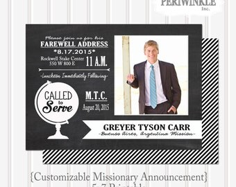 LDS Missionary Announcement 5x7 Custom Printable