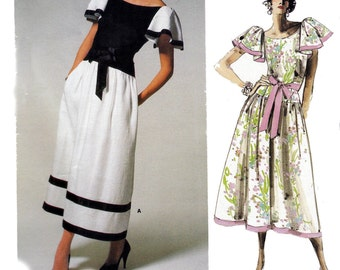 80s KASPER Drop Waisted Dress Pattern Vogue American Designer 1690 Evening Prom Dress Pattern Size 14 Bust 36 inches UNCUT Factory Folded