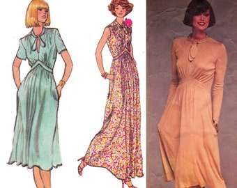 70s RENATA Tie Neck Dress Maxi Dress Pattern Vogue French Boutique 1418 Vintage Sewing Pattern Size 12 Bust 34 inches