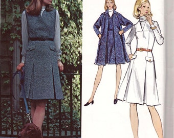 70s SYBIL CONNOLLY Swing Coat & Sleeveless Dress Pattern Vogue Couturier Design 2778 Sewing Pattern Size 16 18 Bust 38 40 inches UNCUT F F