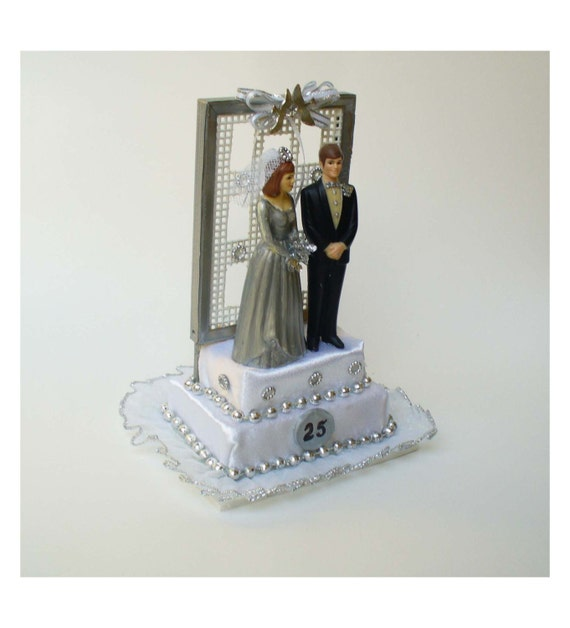 25th Wedding Anniversary Cake Topper Or Centerpiece Silver