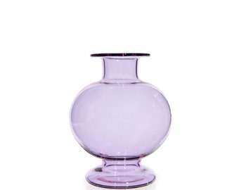 Hand Blown Glass Vase, Purple
