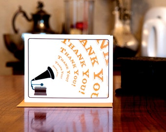 Gramophone of Gratitude - Vintage Record Player Thank You Card on 100% Recycled Paper
